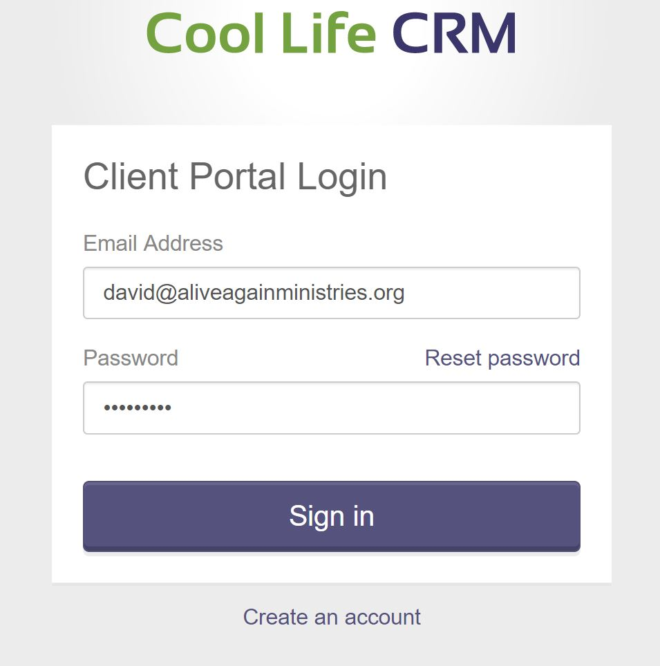 portal login interface