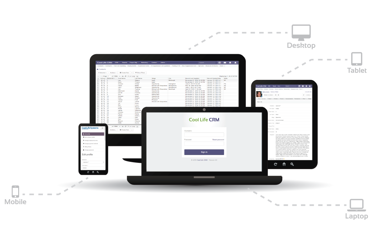 Image of responsive design of CRM